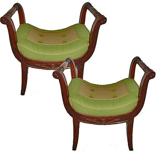 A Pair of Late French Empire Walnut Curule Benches No. 3052
