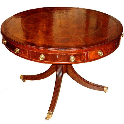 An 18th Century English Flame Mahogany Drum Table No. 2656