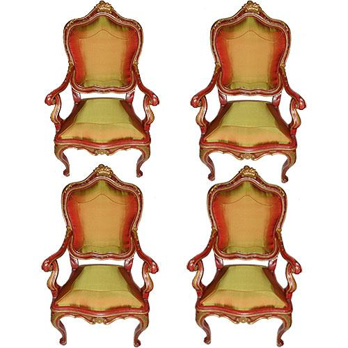 A Set of Four 18th Century Sicilian Louis XV Polychrome and Parcel Gilt Armchairs No. 3080