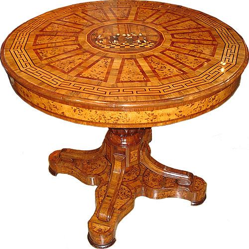 An Early 19th Century Elaborate Italian Marquetry and Parquetry Circular Pedestal Center Table 3083