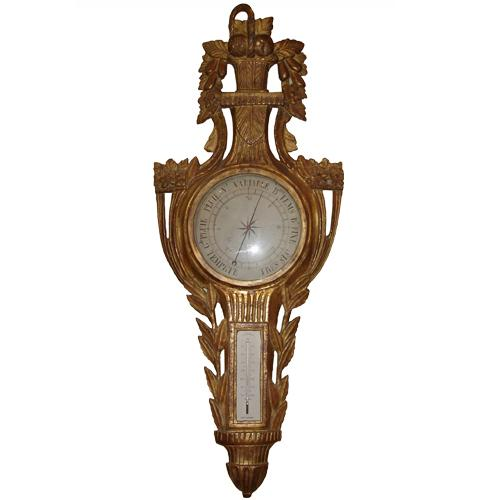 An 18th Century French Louis XV Carved Giltwood Barometer No. 465