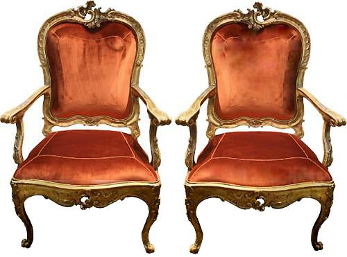 A Regal Pair of 18th Century Carved Giltwood Italian Louis XV Armchairs No. 3028