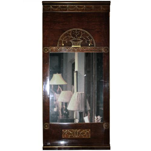 A 19th Century Swedish Mahogany and Brass Inlay Mirror No. 2003