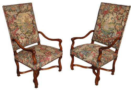 A Pair of Early 18th Century Louis XIV Transitional to Régence Walnut Fauteuils No. 3155