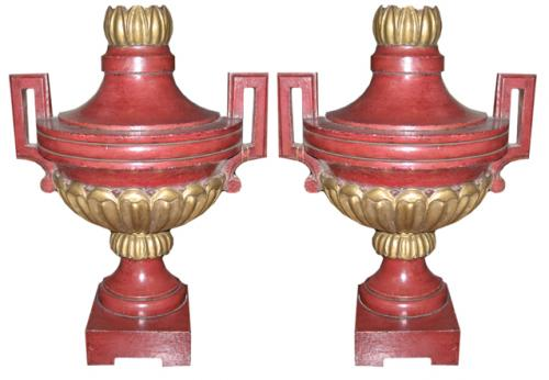 A Pair of Italian Parcel-Gilt and Polychrome Decorative Architectural Pilaster Urns No. 2632