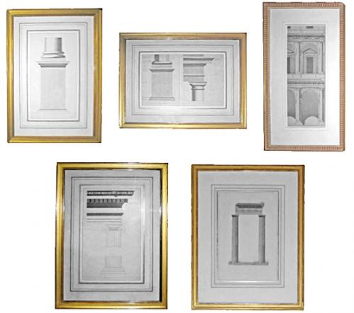 A 19th Century French Set of Five Architectural Drawings No. 1428