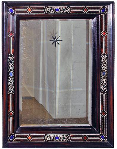 A 17th Century Italian Ebonized Mirror Inlaid with Bone No. 3203