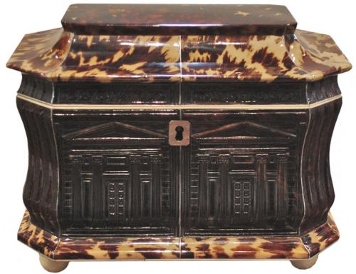 An Exceptional and Rare English Regency Pressed Tortoiseshell Tea Caddy No. 3187