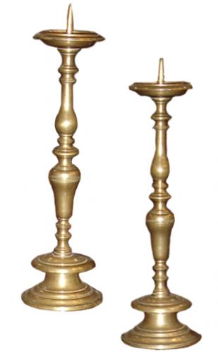 A Pair of Italian 18th Century Brass Candlesticks No. 3202