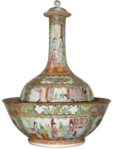 A 19th Century Famille Rose Chinese Porcelain Vase and Bowl No. 58