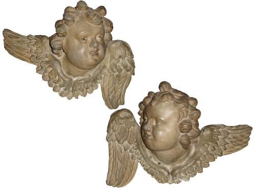 An 18th Century Pair of Italian Polychrome Cherub Wall Appliqués No. 3307