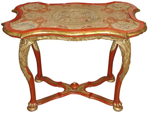 An Unusual 18th Century Vermillion Polychrome and Parcel Gilt Venetian Needlepoint Topped Side Table No. 3306