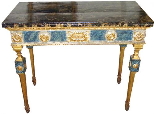 An 18th Century Louis XVI Polychrome and Parcel Gilt Console Table No. 1890
