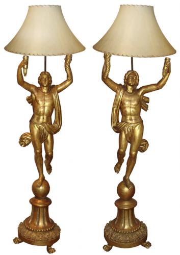 A Pair of Tuscan Gilt wood Draped Figural Torchère Floor Lamps No. 705