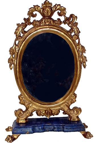 An Ovoid 18th Century Polychrome and Parcel Gilt Luccan Vanity Mirror No. 2666