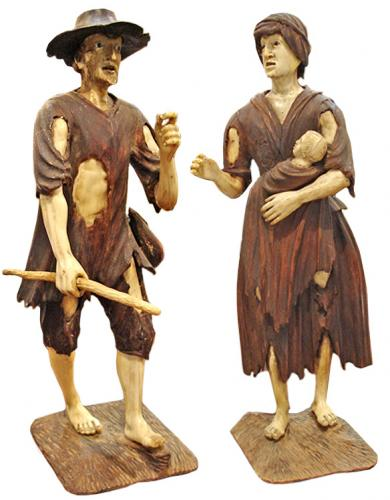 An Unusual Pair of Italian 18th Century Carved Bone and Wood Figurines No. 3335