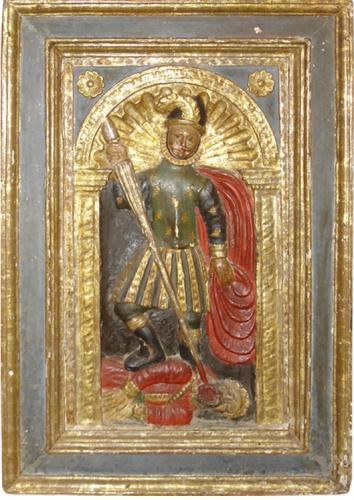 A 17th Century Spanish Colonial Parcel-Gilt and Polychrome Carved Relief Panel No. 3342