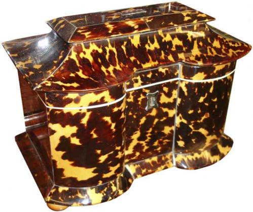 A 19th Century English Tortoiseshell Tea Caddy No. 3374