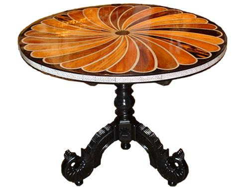 An 1830 Anglo-Indian Solid Ebony, Bone and Exotic Specimen Wood Parquetry Side Table No. 3355