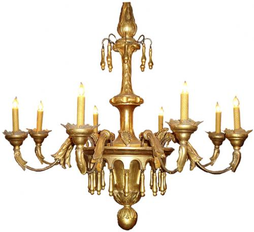 An Early 19th Century Italian Eight Light Giltwood Chandelier No. 3357