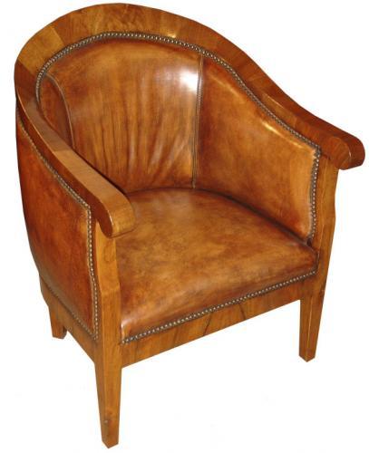 A Mid-19th century Walnut German Biedermeier Tub Chair No. 1553