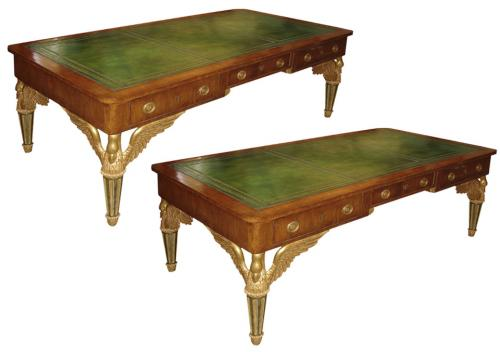 A Rare Pair of Italian Empire Walnut and Parcel-Gilt Partners Desks No. 3403