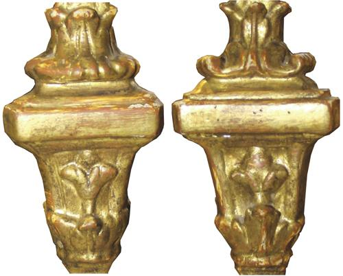 A Well-Sized Pair of Italian 18th Century Carved Mecca Giltwood Pricket Sticks No. 3092