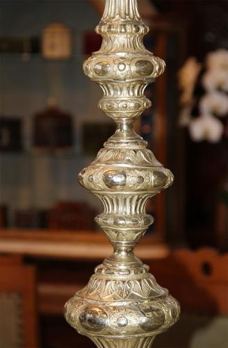 A Magnificent Pair of 18th Century Palazzo Scaled Silver Veneered Pricket Sticks No. 3455