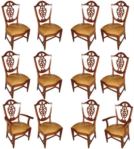 A Rare Set of Twelve 18th Century Italian Walnut Dining Chairs No. 3477