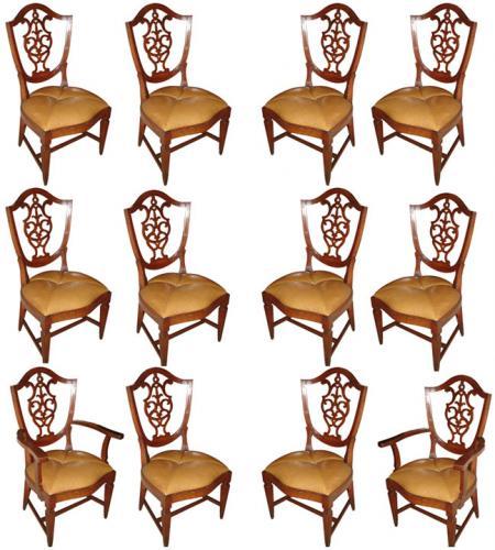 A Rare Set of Twelve 18th Century Italian Walnut Dining Chairs No. 3477