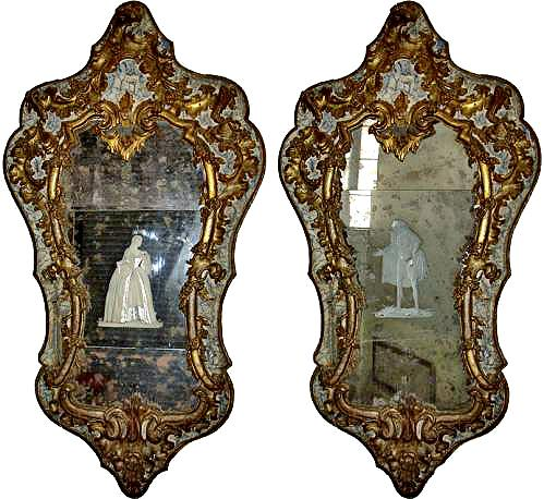 An Important Pair of Early 18th Century Giltwood and Parcel Gilt Venetian Mirrors No. 3481