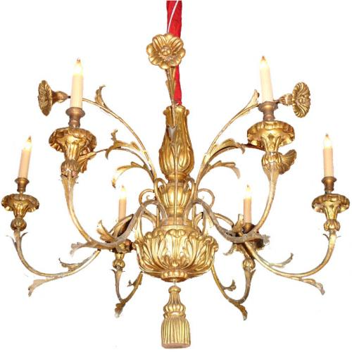 An Unusual 18th Century Italian Six-Light Giltwood and Gilded Metal Chandelier No. 3440