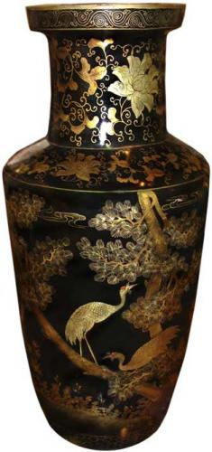 A Large Scaled 19th Century Papier Mache Lacquered Urn No. 3512