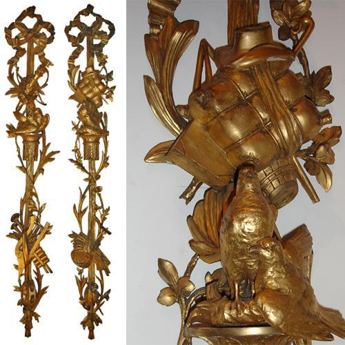 An Exceptional Pair of 18th Century French Giltwood Wall Appliqués No. 3521