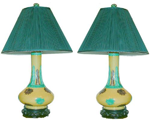 A Pair of Lamps Comprised of 19th Century Chinese Glazed Crackleware Urns No. 2525