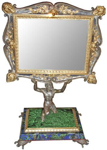 A Diminutive and Rare 19th Century Italian Bronze, Ormolu, Malachite and Lapis Table Mirror No. 3480