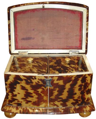 A 19th Century English Tortoiseshell Tea Caddy No. 3542