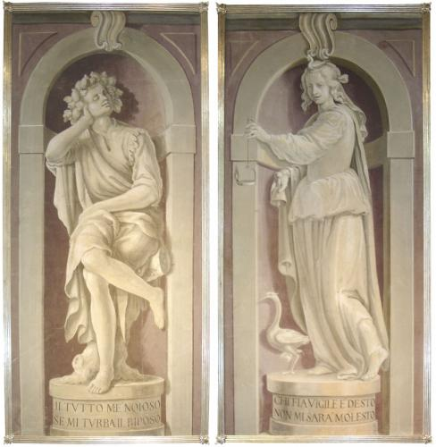 An Allegorical Pair of 18th Century Grisaille Oil on Canvas Panels No. 3543