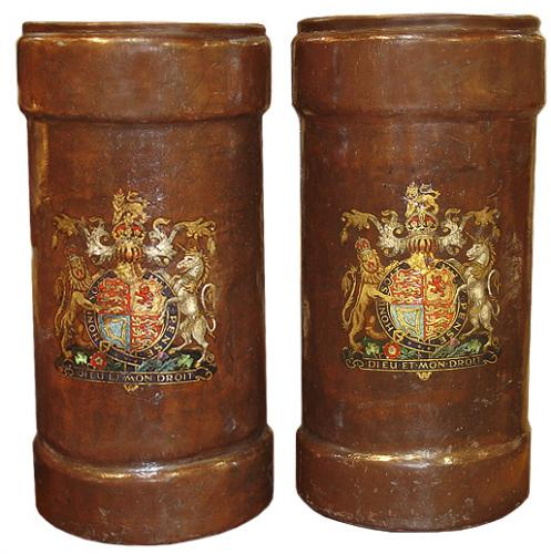 A Regal Pair of 18th Century Leather and Polychrome Umbrella Holders 3550