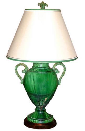 A Distinctive 19th Century French Pichet a Eau Faience Urn Lamp No. 2244