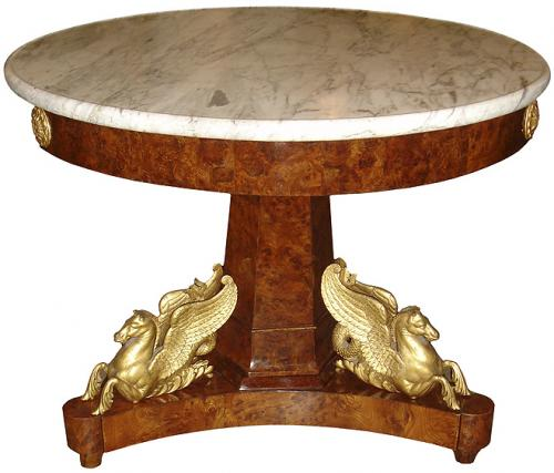 An Early 19th Century Italian Burl Walnut Center Pedestal Table No. 3570