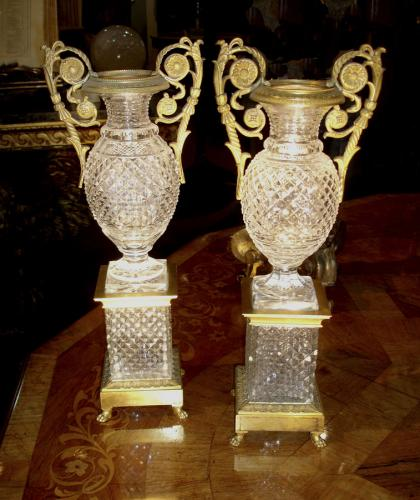Pair of Cut Leaded Crystal and Ormolu Urns No. 3567