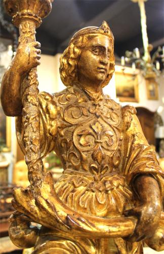 A Resplendent Pair of 18th Century Italian Giltwood Archangel Torchères 3585