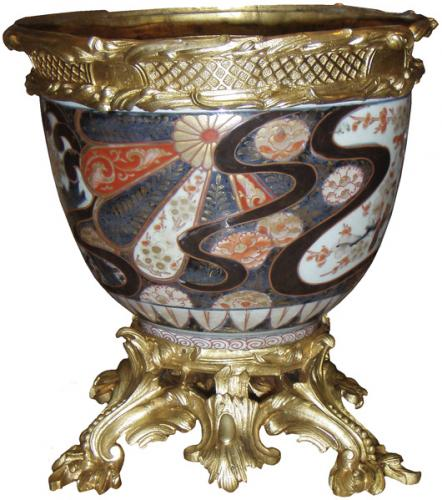 A 19th Century French Napoleon III Ormolu-mounted Japanese Export Imari Porcelain Jardiniere No. 3586