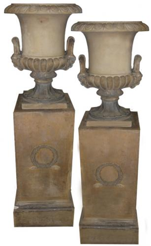 "A Pair of Late 19th Century Terra Cotta ""Borghese"" Urns No. 3610"