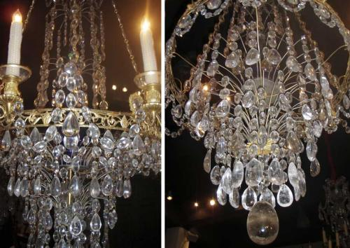 A Magnificent Ten-Light 18th Century Rock Crystal, Cut Crystal and Brass Ormolu Chandelier No. 3613