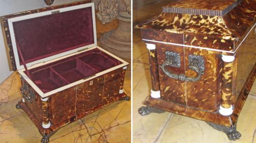 An Unusually Large and Rare English Regency Tortoiseshell Tea Caddy No. 3619