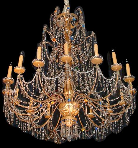 A Magnificent 18th Century Genovese Parcel-Gilt and Crystal 16-light Chandelier No. 2526