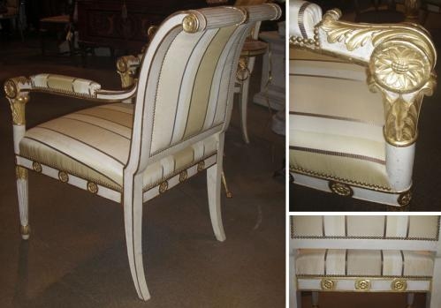 An Elegant Set of Late 18th Century Italian Neoclassical Polychrome and Parcel Gilt Arm Chairs No. 3626
