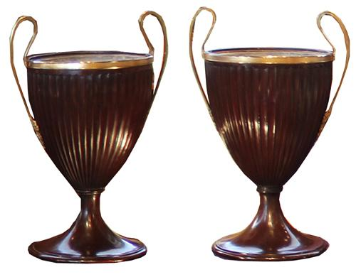 A Pair of 19th Century Mahogany Regency Fluted Urns No. 3625